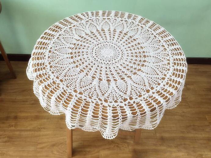 Hand Crochet Pineapple Flower Round Tablecloths 85CM Cotton Table cloth Wedding Decoration Mats Cover cloth Home Textile(China (Mainland))
