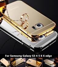 S6 край зеркала чехол роскошные бампера металла алюминиевая рамка для Samsung Galaxy S3 S4 S5 S6 6 край с пк задняя крышка телефона чехол