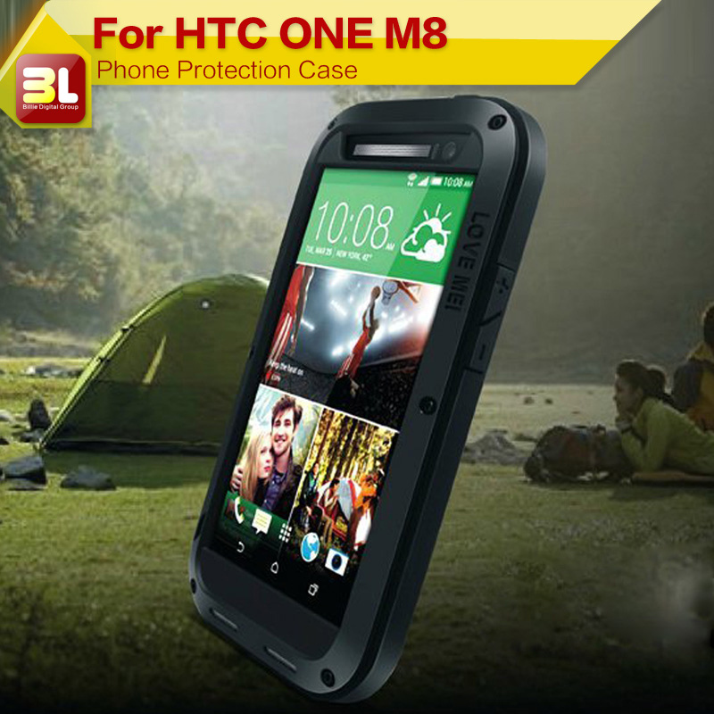 Original LOVE MEI Powerful Waterproof Aluminum Metal Case For HTC One M8 With Gorilla Glass + Retail Box(China (Mainland))