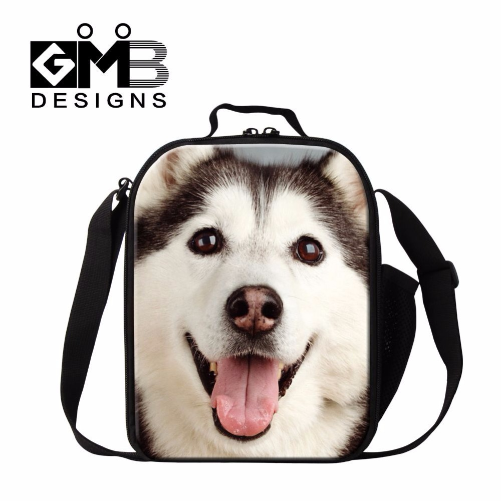 High quality cooler bag for children husky pet dog printed shoulder lunchbox thermal food bag lunch tote picnic bag with handle(China (Mainland))