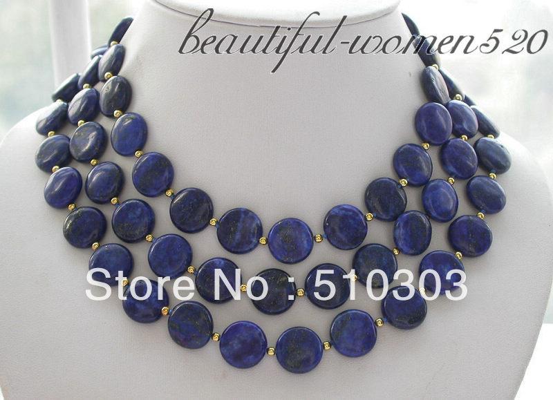 "long 50"" 14 mm coin blue lapis lazuli bead necklace(China (Mainland))"