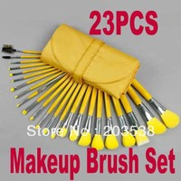 Free Shipping+Drop Shipping 2014 Newest 23 pcs Cosmetic Facial Make up Brush Kit Makeup Brushes Set with yellow Leather Case