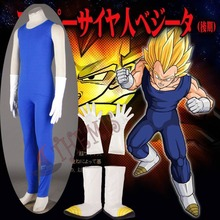 Athemis Dragon Ball Z Vegeta II Cosplay Costume Sleeveless Sportswear Blue Tight-fitting Clothes with Leather Gloves and Shoes