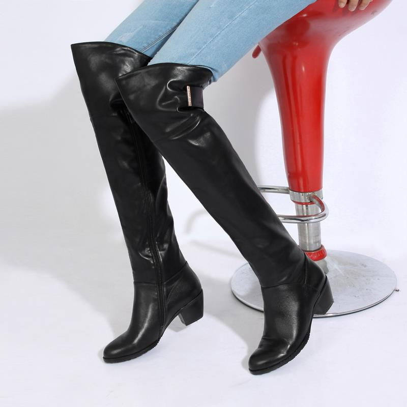 2015 winter Autumn New Side Zipper Knee Boots Women Solid Colors Square Heels Comfortable Fashion Knee Boots size 34-39 R1225