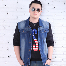Free 2016 Shipping New Style Men's Spring Denim Vest Man Plus Size Fashion Denim Jean Vests Coat Sleeveless Cowboy (China (Mainland))