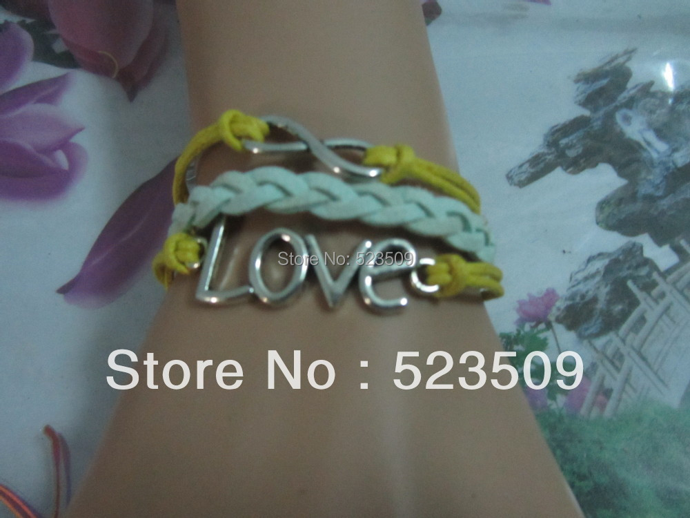 !!Handmade Silver Alloy LOVE Leather Rope Cuff Bracelet Charm Fashion Infinity Man Costume Jewelry - Love Forever Co.,LTD store