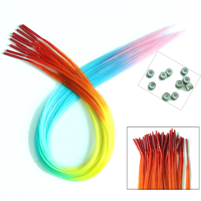 10 Pieces/lot 40cm Rainbow Straight Synthetic Grizzly Hair Extensions Give 10pcs Silicone Beads Free(China (Mainland))