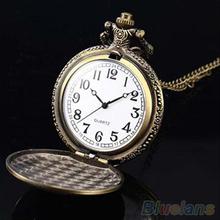 Retro Vintage Unique Bronze Quartz Pendant Chain Necklace Clock Pocket Watch 1L2O(China (Mainland))