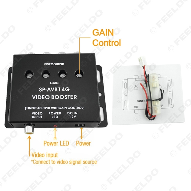 auto car 1 to 4 output video monitor signal amplifier booster amp fd 1320 in. Black Bedroom Furniture Sets. Home Design Ideas