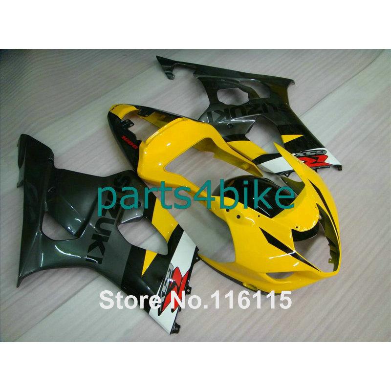 Injection molding fit for SUZUKI 2003 2004 GSXR1000 fairing kit K3 K4 yellow black fairings set GSX-R1000 03 04 bodykits AP43(China (Mainland))