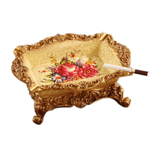 Resin Craft Arts High Grade Business Gift Decorate Euro Retro Creative Ashtray Delicate Luxury Elegant Home Accessories(China (Mainland))