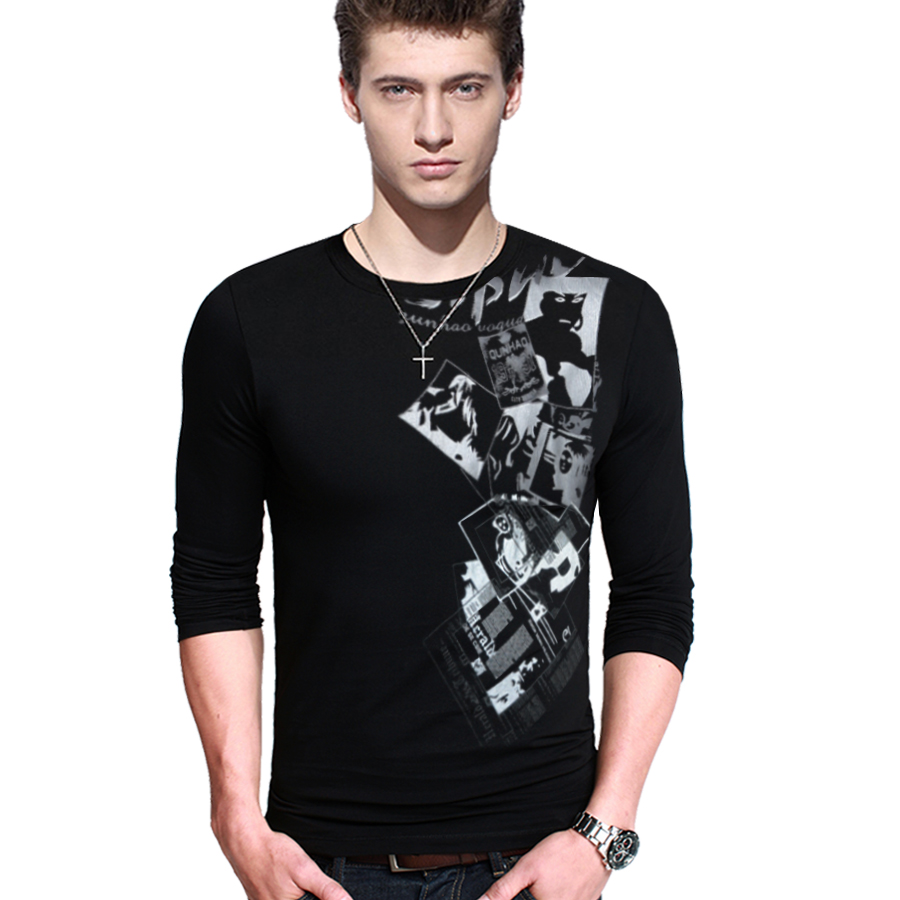 Long sleeve print t shirt men new o neck quality fashion for Long sleeve t shirt printing