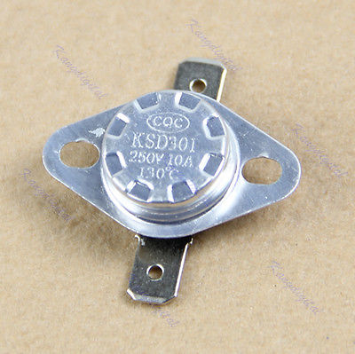 OOTDTY KSD301 130 degree centigrade Normal Close NC Temperature Controlled Switch Thermostat 250V 10A