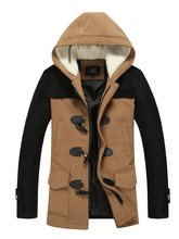 L-XXXL ! Plus size New 2014 Winter Men Korean Slim casual hooded thick horn button wool coat jacket youth tide jacket clothing(China (Mainland))
