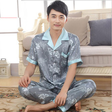Men imitated silk turn-down collar short sleeves pajamas sets,gentlemen boys blue print striped buttons nightgown, KOL K-1605D