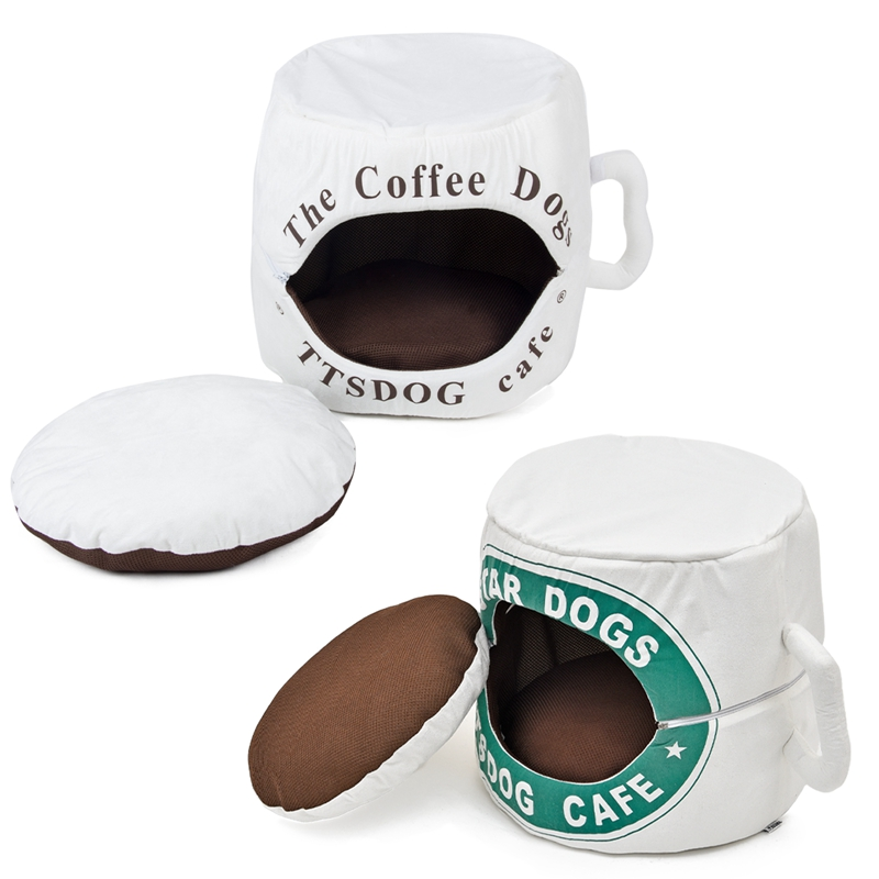2016 New Arrival Dog Cat Kennel Cute Coffee Cup Style Pet Bed Soft Warm Special Design Number On Outside The Free Shipping(China (Mainland))