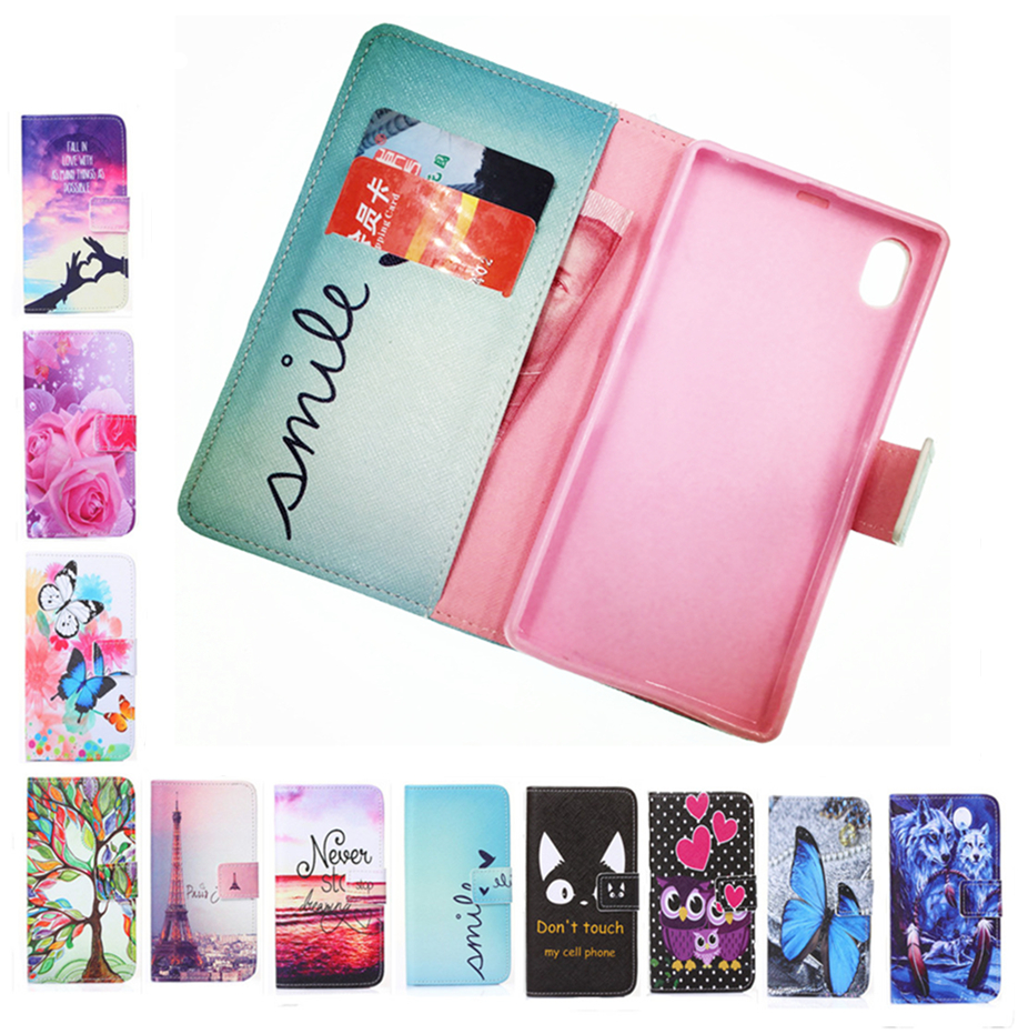 Wallet Painted Book Stand Flip Leather Case Sony Xperia Z1 L39H C6902 C6903 C6906 Wolf Rose Owl Effiel Tower case Cover