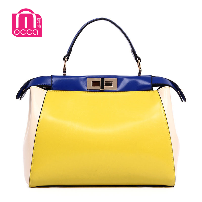 Free shipping New 2015 Bags Magnetic buckle genuine pu leather women's handbag women's totes letter bag with high quality(China (Mainland))