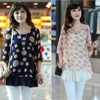 Roupas Femininas Blusas Cheap Clothes China Tops Chiffon Blouse Dots Flower Printed Women Clothes Plus Size Tropical NZH064