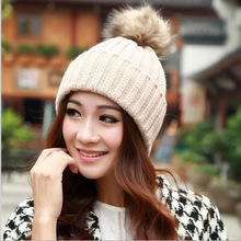 2015 Winter Women's Candy Beanie Knitted Caps Crochet Hats Rabbit Fur Pompons Curling Ear Protect Cute Casual Cap Women Beanies(China (Mainland))