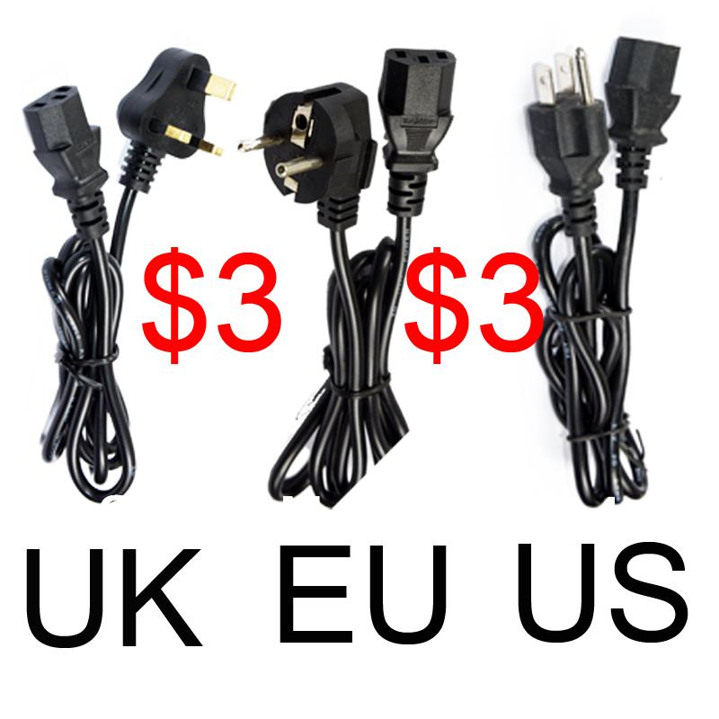 P- 1pcs FreeShipping AC Power Cord cable lead Adapter EU US UK AU Plug 10A 250V Computer Printer Monitor Outlet plug IEC320 C13(China (Mainland))