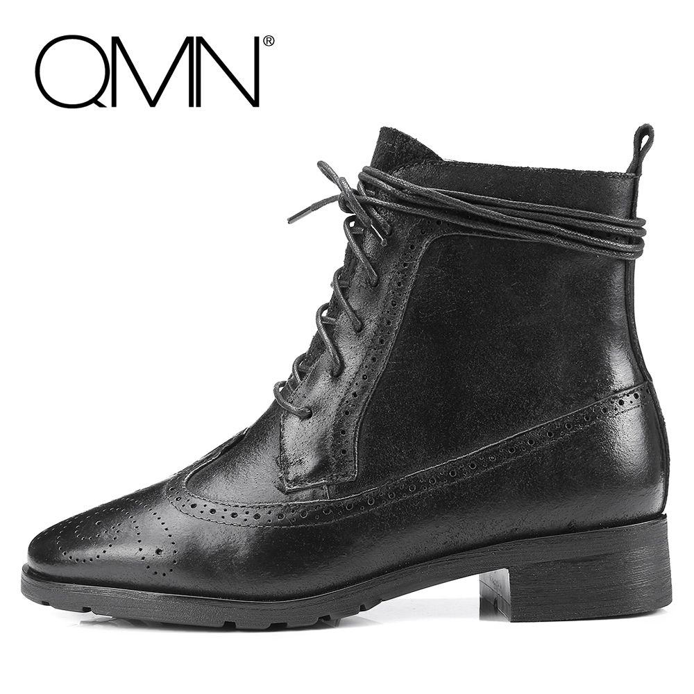 QMN genuine leather women ankle boots Women Nubuck Calfskin British Brogue Shoes Woman Military Boots Winter Bootie Botas Mujer(China (Mainland))