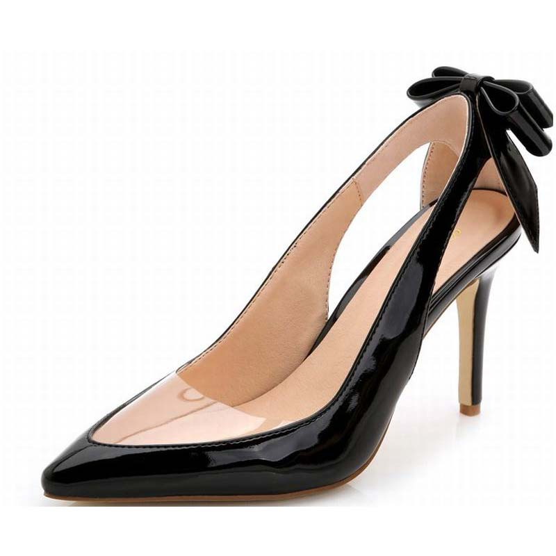 Фотография plus size 34-43 sexy women transparent high heels shoes fashion cut-outs sweet back bowite pointed toe summer pumps party shoes