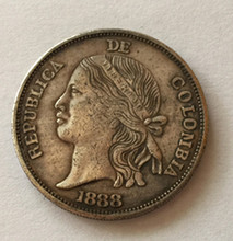 1888 Colombia Old peso 5 Decimos Silver plated Copy Coin(China (Mainland))