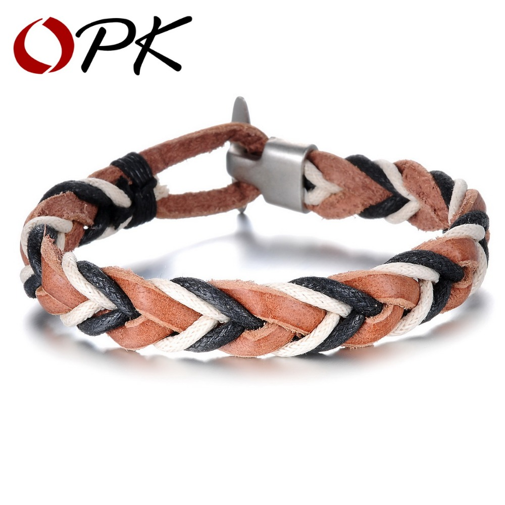 OPK Knitted Leather Man Bracelets Rock Punk Anchor Clasp Copper Alloy Men Jewelry 2015 Best Selling Accessories PH881 - store