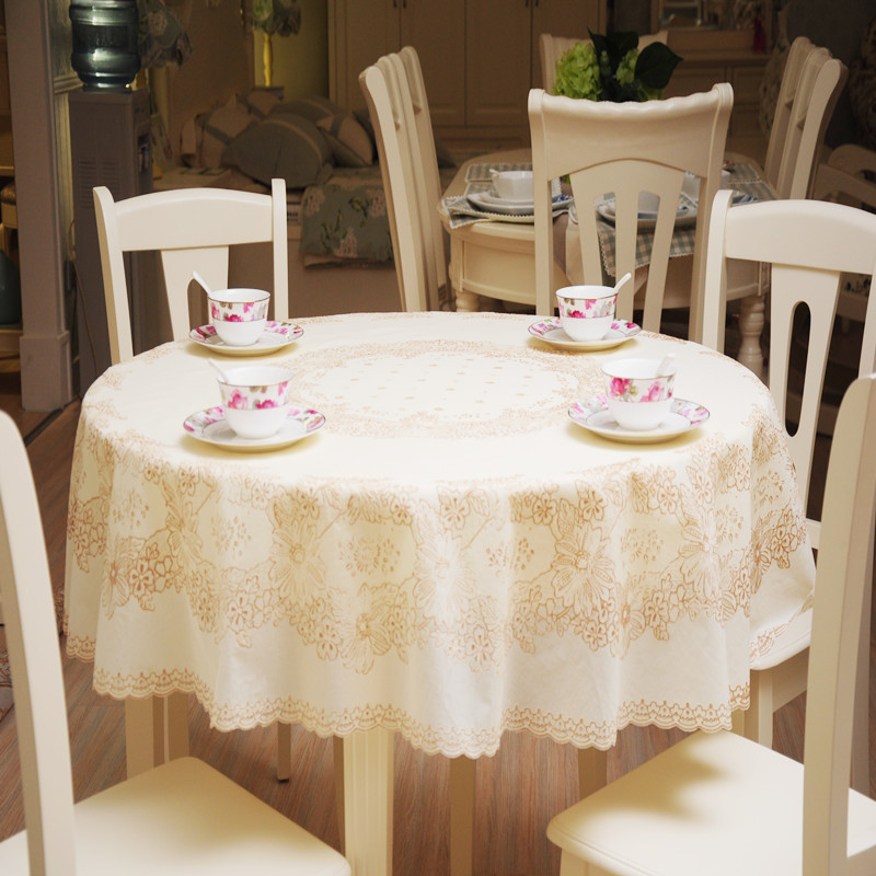 180x180cm Printing lace tablecloth PVC round tablecloth Rural style thickening round table cloth waterproof and oil tablecloth(China (Mainland))