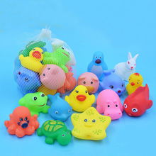 13 Pcs Lovely Mixed Animals Swimming Water Toys Colorful Soft Rubber Float Squeeze Sound Squeaky Bathing Toy For Baby bath toys