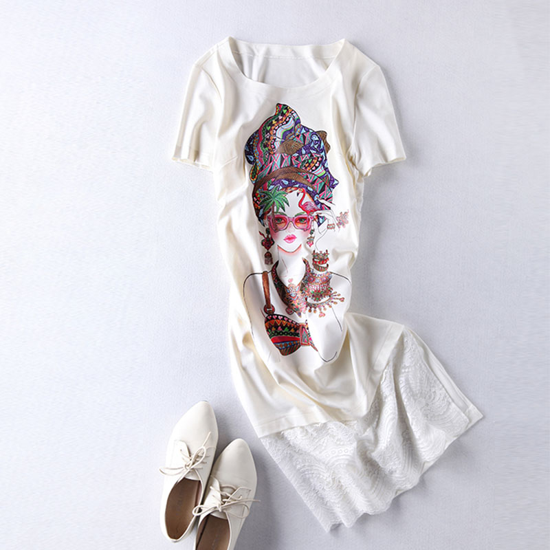 2016 New Summer European Famous Brand Short Sleeve Lady Fashion Mid Calf Cotton O Neck Printed Cartoon Girl Dress Lace StraightОдежда и ак�е��уары<br><br><br>Aliexpress