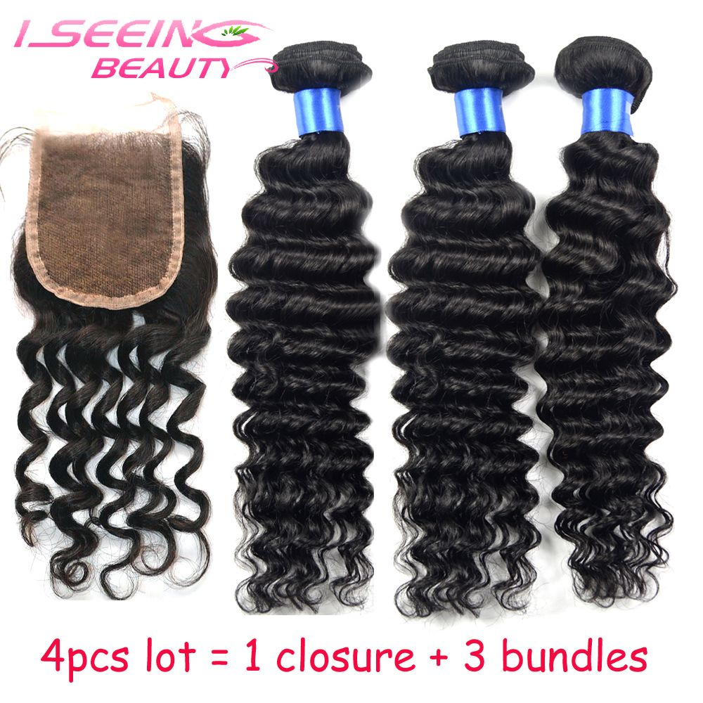 40% OFF lot 8A Peruvian unprocessed virgin hair deep curly weaving1 lace closure 3 bundles wave DHL free - Iseeing Beauty Hair Products Co.,Ltd store