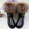 Women Snow Boots Natural Fox Fur Cow Muscle Outsole Waterproof Middle High Genuine Leather Winter Cotton