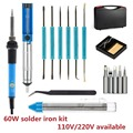 Free shipping 60W Welding Soldering Iron with Desoldering Pump Stand Anti static Tweezers Additional Solder Tube