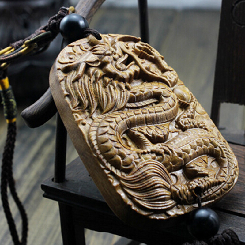 China Dragon Dod Beast Wood Carving Crafts Amulets Stand For Peace Car Hanging Decoration Wooden Craft Religious Gifts AHJ071(China (Mainland))