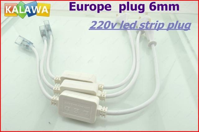 1 PC 5050 SMD 220v LED Strip Plug, LED Connector,  6mm LED Strip Accessory Special Europe  Plug FFF freeshipping