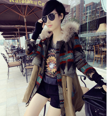 New 2014 Hot Sale Women Autumn Winter Hooded Patchwork Loose Woolen Md-long Coat Free Shipping LY1998Одежда и ак�е��уары<br><br><br>Aliexpress