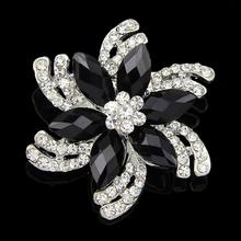 Belle alliage de Style européen résine cristal broches classique Vintage femmes noir broche pour décorations Invitations vêtements(China (Mainland))
