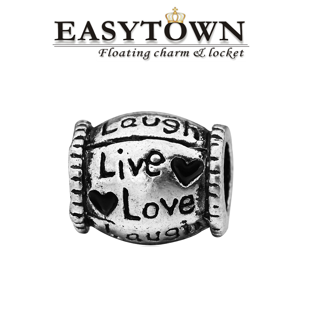 Latest fancy Zinc alloy love laugh with black heart European beads fits bracelets free shipping(China (Mainland))