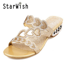 Buy Rhinestone Women Slippers Bling Glitter Summer Casual Shoes Woman Square Med Heel Fashion Slides Sandals Plus Size 43 High Heels for $21.83 in AliExpress store