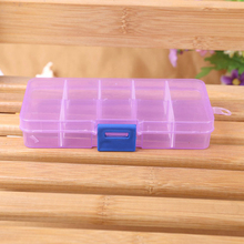 10 Grids Happy Gifts High Quality Adjustable Jewelry Beads Pills Nail Art Tips Storage Box Case(China (Mainland))