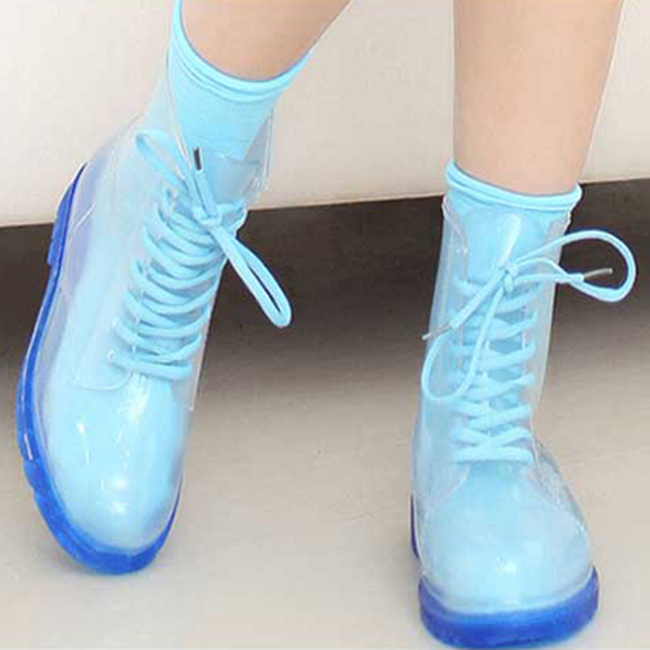 XWN0135-5 IKAI New Women Rain Boots Rubber Rainy Shoes Transparent WaterProof Casual Mid-Calf Boots Lovely Water Shoes For Lady(China (Mainland))