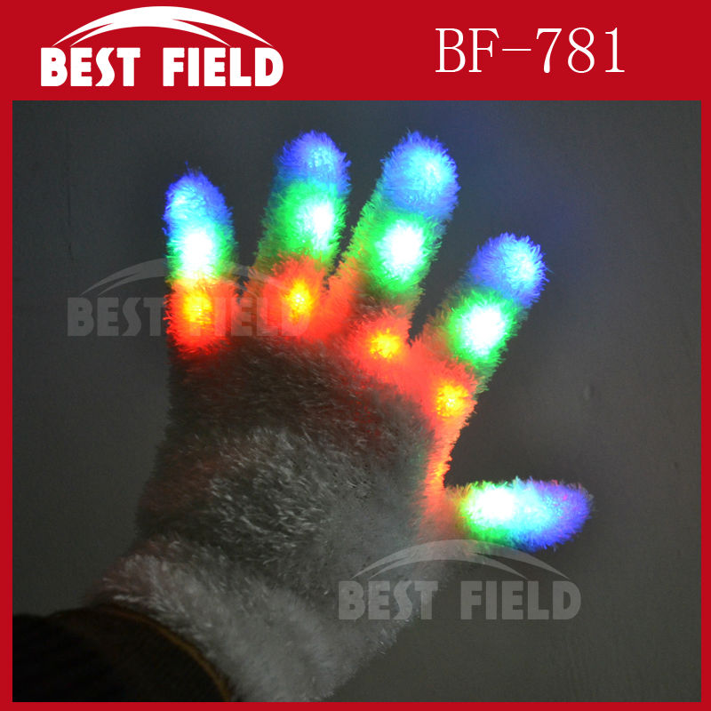 new arrival Free Shipping 40pcs(20pairs)/lot 22*11CM LED Rave Flashing Gloves Glow 7 Mode Light Up Finger Lighting glove white(China (Mainland))