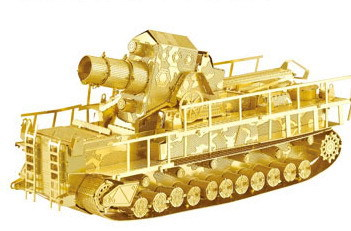 Railway Gun Tank model Gold silver color 3D DIY laser cutting tank educational diy toys Jigsaw Puzzle best gifts - Model World store