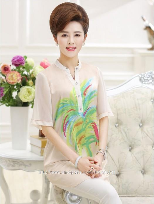 2015 Summer New Middle-Aged And Old Women Blouse Mother Clothing Long Section Of Palm Print Silk Women Blouse Shirt Z2815(China (Mainland))