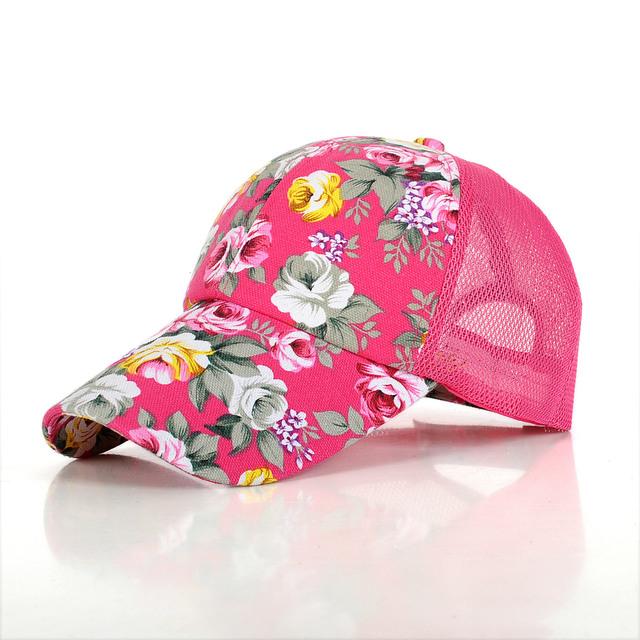 Горячая распродажа дамы бейсболки цветок печать лето в стиле хип-хоп круто колпачок ...