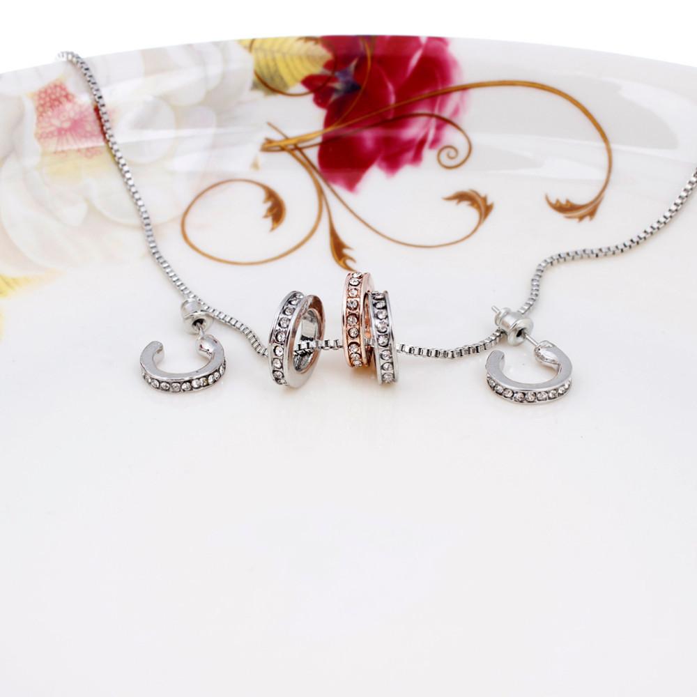 משלוח חינם חדש מגיע 2014 סגנון חדש 18K מצופה כסף ספח עגילי קריסטל שרשרת תכשיטי סטים לנשים.
