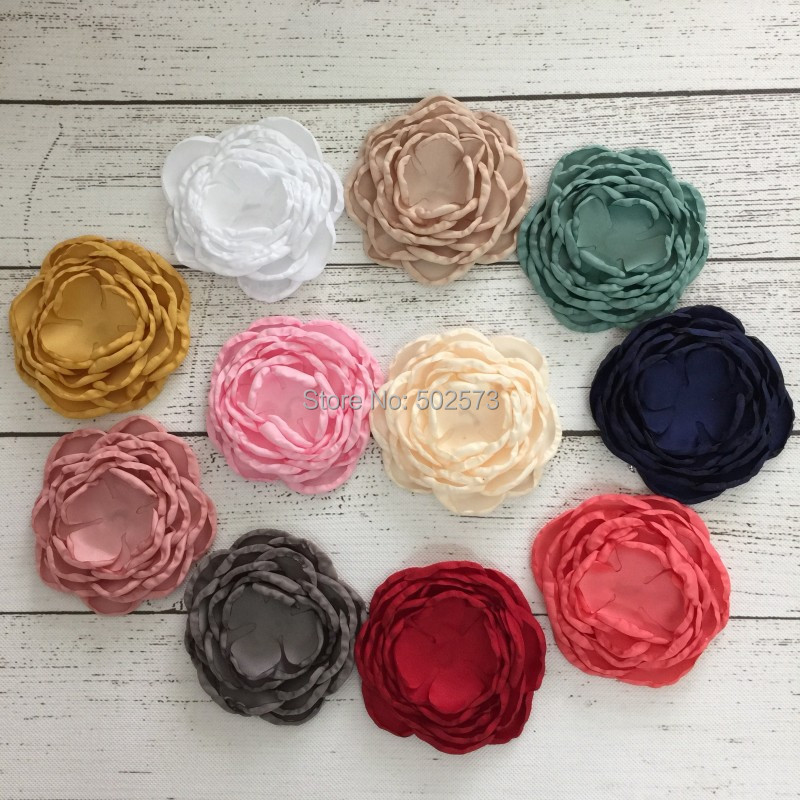 660pcs/lot No Rhinestone Burned Layered Flower DIY Handmade Satin Flower Customize Flower(China (Mainland))