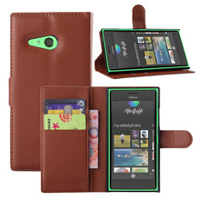 Litchi Lines Wallet ID Credit Card KickStand Flip PU Leather Purse Case For Nokia Lumia 730 Dual SIM Back Cover(China (Mainland))